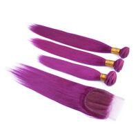 Purple Cheveux Humains Weaves Avec Dentelle Fermeture 3 Pcs Extension de Cheveux Droite Et Dentelle Fermeture Malaisienne Vierge Cheveux Trame à vendre