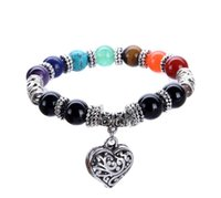 JLN New Heart Pendant Chakra Braccialetti Tiger Eye Yoga Bracciale Bracciale con pietra naturale multicolore per uomo donna
