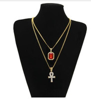 gold color Men hiphop bling iced out Ankh cross with mini ge...