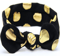 Baby Girls Gold Polka Dots Cotton Headband Children Knotted ...