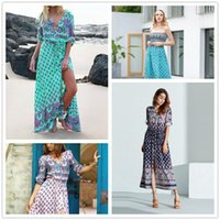 Bohemian V- neck Maxi Long dress Women Floral Print Retro Hip...