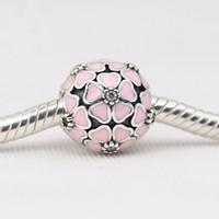 Fiore di smalto rosa o bianco con cz cz 100% 925 in argento sterling clip per perle di fascino per braccialetto Pandora catena di serpente o collana gioielli moda gioielli