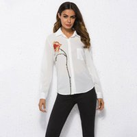 Long Sleeve Women T- shirt Tops White One Flower Embroidery T...