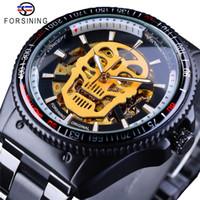 Forsining Steampunk Dourado Luminoso Crânio Esqueleto de Aço Inoxidável Preto Trabalho Aberto Mens Relógios Automáticos Top Relógio de Marca
