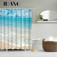 Rideau en tissu imperméable de rideau en polyester de rideau de douche de route de plage de mer pour la salle de bains avec le crochet 12PCS