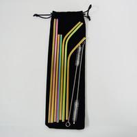 Nueva pajita de acero inoxidable colorido 304 pajitas de beber 10pcs / set Paja de beber de metal reutilizable con cepillo más limpio conjunto de colores del arco iris