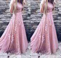 2018 Vintage Blush Pink Vestidos de baile Una línea de tul Apliques Vestidos de noche de encaje Ropa formal larga por encargo