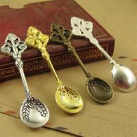 100 stks 4 kleuren antiek brons antiek zilver goud zilver mini lepel poppenhuis miniatuur speelgoed sieraden charme kralen vinden