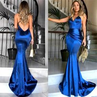 Cheap Simple Royal Blue Long Mermaid Prom Dresses Halter Dee...