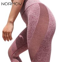 NORMOV Sexy Mesh Yoga Pants Women High Waist Fitness Clothin...