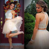Spedizione gratuita Due pezzi Halter Homecoming Dresses 2019 Bording Crystal Top Tulle Short A Line Party Graduation Prom Gown Abito da cocktail