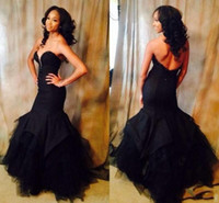 African Black Girls Long Prom Dresses 2018 Sexy Mermaid Form...