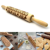 43CM Large Christmas Wooden Rolling Pins Engraved Embossing ...