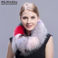 冬のキツネの毛皮の暖かいファッションカラフルなキツネの毛皮のスカーフ多色ファッションフォックスカラー女性の毛皮スカーフMs.minshu