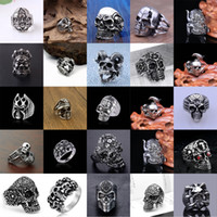 Hombres Anillos punkyes del acero inoxidable de más de 30 modelos de esqueleto de la moda anillo de plata de los hombres frescos anillo del dedo viento punky gótico