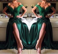 Vestito da sera sexy verde scuro una linea in chiffon off-the-shoulder floor-length in pizzo spacco laterale alto elegante abiti da ballo lunghi abiti da cerimonia