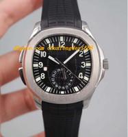Lujo 5164A-001 Aquan @ ut Travel Time Dual Zone Zone pulsera de acero inoxidable / caucho Reloj de pulsera automático de la marca de moda de los hombres