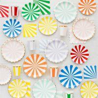 Alles Gute zum Geburtstag Dekoration Geschirr Set Einweg-Streifen-Goldfolie Pappteller Cup Gewebe-Serviette-Babyparty-Bevorzugungs-Partei-Versorgungs 26 5yz BB