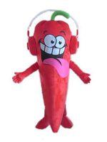 2018 Qualitativ hochwertiges, rotes Chili-Maskottchenkostüm mit einem Kopfhörer für Erwachsene, der für Partys zu verkaufen ist