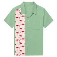 새로운 망 패션 셔츠 플라밍고 다이아몬드 인쇄 남자 인과 셔츠 로커 빌리 의류 힙합 플러스 사이즈 의류