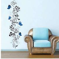 Bloem wijnstok vlinders muurstickers woonkamer decor x016. DIY Home Decals Dieren Muurschilderingen PVC-print Posters 4.0