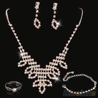 Women' s Rhinestone Wedding Party Engagement Necklace Rin...