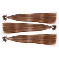 2018 9A 패션 머리 손톱 팁 인간의 머리카락 0.8 g / strands 100 가닥 / 많은 피아노 컬러 스트레이트 웨이브 U 팁 인간의 머리 확장
