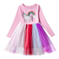 Baby girls unicorn dress children rainbow lace Tulle princes...