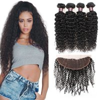 8A Cheap 13x4 Size Curly Lace Frontal With Human Hair 4Bundl...