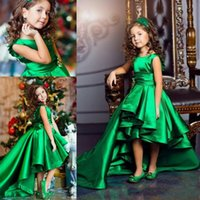 Hi Lo Green Girls Flower Girls Dresses Satin A Line Pleats S...