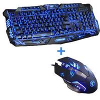 Nuevo juego de teclado retroiluminado tricolor retroiluminado juego teclado teclado 6 botones 3200 ppp mecánico Pro ratón para juegos