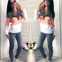 Yeni Kadın Patchwork 2 Iki Parçalı Set Üstü Ve Pantolon V Yaka Kapşonlu Eşofman Kadın Hoodies Tişörtü Kadın Spor İpli Ter Suit