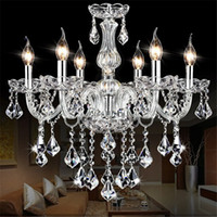 Clear Crystal LED Chandelier Lighting Living Room Crystal Ch...