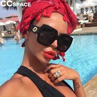 Gafas de sol cuadradas de gran tamaño Mujeres Big Frame UV400 Gafas de sol Metal Bisagra Oculos 47805