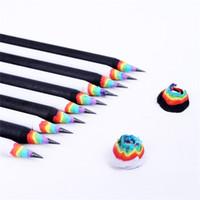 2B Rainbow Lápices Creativos Niños Madera Lápiz Papelería para estudiantes Materiales de oficina Negro Blanco Nuevo Llega 1 8 ng C