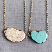 Free Shipping New Turquoise Stone Handmade Choker Pendant Necklace, 2018 Fashion Natural Stone Punk Styles Necklace