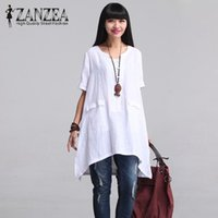 2017 ZANZEA Women Vintage O Neck Short Sleeve Cotton Linen S...