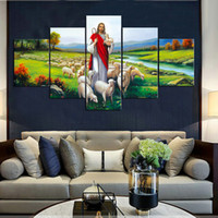 يسوع وفلوك لوحات فرملس محفظة 5pcs (بدون إطار) Printd على قماش الفنون الرئيسية جدار الفن الحديث HD طباعة اللوحة