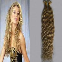 613 Bleach blond U Tip Extension de cheveux kératine bouclé Machine Remy pré-collé cheveux 100g / brins u pointe kératine extension de cheveux