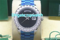 43MM Big diamonds bezel AAA watch (silver . gold) case black ...