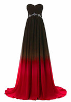 2018 Sexy Sweetheart A- Line Gradient Red Blue Chiffon Prom D...