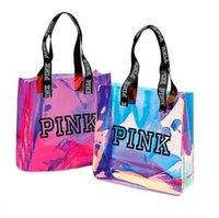 Pink Letter Laser Handbag Transparent Colorful Rainbow Shoul...