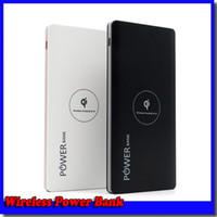 iPhone 8 x 삼성 S8 노트 8에 대 한 이중 USB 외부 배터리 팩이있는 10000mAh 무선 전원 은행 휴대용 무선 충전기