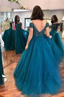 Vintage Teal Blue Ball Gown 2018 Prom Dress Spaghetti Tulle in rilievo Puffy Abiti da sera lunghi Sexy Backless Elegante Plus Size Formale Party