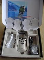 LCD Zehneinheit Akupunktur-Digital-Therapie-Maschine Massagegerät Schmerztherapie +4 Pads + 4-Wege-Kabel mit Netzteil