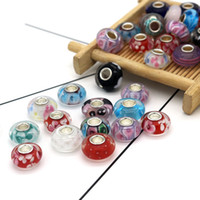 50pcs / lot envío gratis europeo cian buen murano 8x14mm cristal gran agujero bead charm se adapta a las pulseras de encanto de Pandora European
