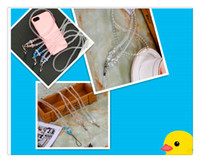 Cell Phone Lanyard Lace Crystal Long Section Hanging Neck St...
