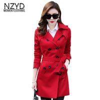 5 اللون 2018 ربيع الخريف المرأة خندق معطف صدرية طوق متوسطة طويلة ضئيلة الإناث معطف جديد نمط أزياء زائد الحجم LADIES513