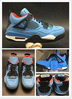 Travis Scotts X 4 Houston Oiler Herren Basketball-Schuhe 4s Sportschuhe Sneakers Trainer Hochwertige Originalverpackung Athletic free shippment