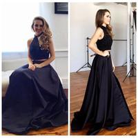Alta collo nero due pezzi Prom Dresses piccola festa nero degli abiti di sera Halter Neck perline paillettes Abiti arabi vesti de soirée